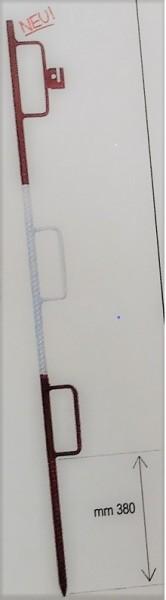 Lattenhalter aus Betonstahl mit 3 Bügeln rot/weiss (Bügel 55 x 160 mm)